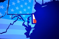 Delaware DE United States America USA Flag Map Royalty Free Stock Photo