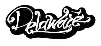 delaware etikett Modern kalligrafihandbokstäver för serigrafitryck Fotografering för Bildbyråer