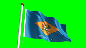 Delaware flag. Seamless  green screen stock footage
