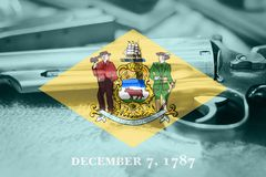 Delaware flag U.S. state Gun Control USA. United States. Gun Laws royalty free stock photos
