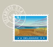 Delaware postage stamp design. Vector illustration. Royalty Free Stock Photos