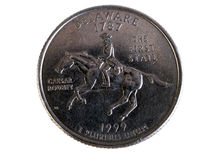 Delaware Quarter tails side 1999 The First State. US Coin Delaware state quarter the first state Royalty Free Stock Images