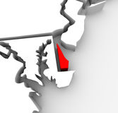 Delaware Red Abstract 3D State Map United States America. A red abstract state map of Delaware, a 3D render symbolizing targeting the state to find its outlines Stock Image