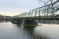 The Delaware River. This bridge connects PA and NJ at New Hope and Lambertville Royalty Free Stock Images