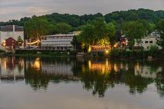 Delaware River på sommar från historiskt nytt hopp, PA royaltyfri foto