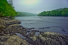 Delaware River på Washington Crossing Park Arkivfoto