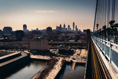 The Delaware River and skyline seen from the Ben Franklin Bridge Royalty Free Stock Images