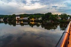 Delaware River am Sommer von der historischen neuen Hoffnung, PA stockfoto