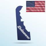 Delaware-Staat mit Schatten mit USA, die Flagge wellenartig bewegen Stockbilder