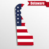 Delaware State map with US flag inside and ribbon Stock Photos