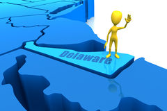 Delaware state outline with yellow stick figure Royalty Free Stock Photo