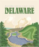 Delaware vector illustration with colorful detailed landscapes and forest in modern flat design. Delaware vector illustration with colorful detailed landscapes Royalty Free Illustration