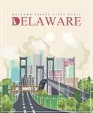 Delaware vector illustration with colorful detailed landscapes in modern flat design.  Royalty Free Illustration
