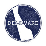 Delaware vector map. Grunge rubber stamp with the name and map of Delaware, vector illustration. Can be used as insignia, logotype, label, sticker or badge of Stock Photography