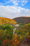 Delaware Water Gap panorama in Autumn stock photos