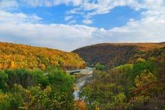 Delaware Water Gap panorama in Autumn royalty free stock photo