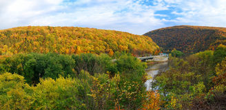Delaware Water Gap panorama in Autumn Stock Photo