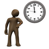 Delay, brown figurine looking on watch, impatient Stock Photos