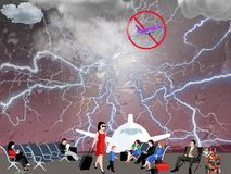 Delayed flight at the airport due to bad weather stock illustration