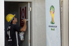 Delay in the works of the FIFA World Cup 2014 Brazil Royalty Free Stock Photo