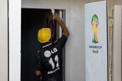 Delay in the works of the FIFA World Cup 2014 Brazil Stock Image