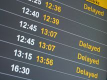 Delayed. Many delayed flights on the departure table of an airport Stock Photo