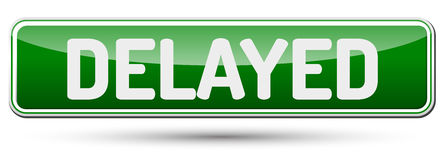 Delayed - Abstract beautiful button with text. Stock Photography