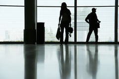 Delayed flight. People with luggage Royalty Free Stock Photos