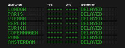 Delayed Flight Information Board Royalty Free Stock Images