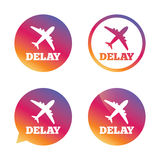 Delayed flight sign icon. Airport delay symbol. Stock Photography