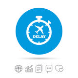 Delayed flight sign icon. Airport delay symbol. Delayed flight sign icon. Airport delay timer symbol. Airplane icon. Copy files, chat speech bubble and chart Stock Photos