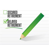 Delayed retirement selected with a check mark. Royalty Free Stock Photos