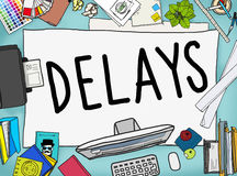 Delays Interruption Late Obstruction Suspend Concept stock illustration