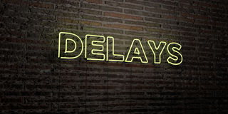 DELAYS -Realistic Neon Sign on Brick Wall background - 3D rendered royalty free stock image Stock Photos