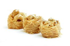 Delcious birds nest baklava with cashew and focus in front Royalty Free Stock Images