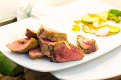 Delcious medium rare cooked tenderloin filet cut Royalty Free Stock Image