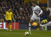 Dele Alli. Football players pictured during UEFA Europa League round of 16 game between Tottenham Hotspur and Borussia Dortmund on March 17, 2016 at White Hart Stock Photography