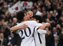 Dele Ally, Harry Kane and Heung-Min Son goal celebration. Players pictured during the UEFA Champions League Round of 16 game between Tottenham Hotspur and Stock Photos
