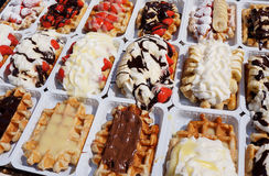 Delectable Belgian Waffles Stock Photo