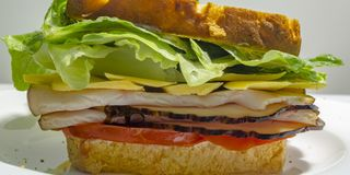 Delectable deli sandwich on a plate. Close up of thick deli sandwich with cold cuts, tomatoes, cheese and lettuce filling. It is served on a white plate in a stock images