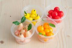 Delectable imitation fruits, Thai National Dessert. Stock Image