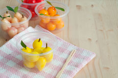 Delectable imitation fruits , Thai National Dessert. Stock Photography