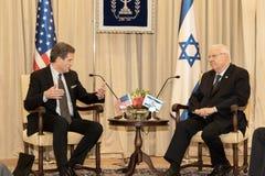A delegação do congresso do Estados Unidos encontra Israel President imagens de stock royalty free