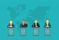 Delegaci za podium Polityka wydarzeń Międzynarodowy zgromadzenie polisa rządowy narodu prezydent ilustracja wektor