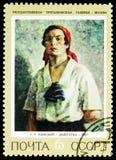 Delegado do partido, por G g Rjashskij, serie soviético das pinturas, cerca de 1972 foto de stock royalty free