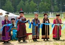 Delegados mayores del convenio de los Mongolians del mundo Imagen de archivo libre de regalías