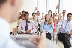 Delegates Asking Question At Business Conference Royalty Free Stock Images