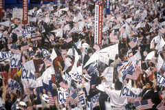Delegates cheer for Clinton's nomination. At the 1992 Democratic National Convention at Madison Square Garden, New York Royalty Free Stock Photos