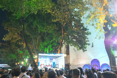 Delegates at Rabindra Jayanti festival , Kolkata. KOLKATA, WEST BENGAL , INDIA - 9TH MAY 2017 : Delegates seen in a giant screen amongst audience , at Rabindra Stock Photography