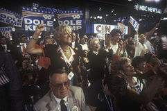 Delegates root for their candidates. At the 1996 Republican National Convention in San Diego, California Stock Images